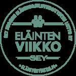 Eläinten viikon vihreä pyöreä logo jossa on kuva tassunjäljestä ja tekstit: SEY Suomen Eläinsuojeluyhdistysten liitto ry, Eläinten viikko, SEY ja eläintenviikko.fi