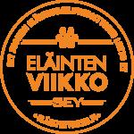 Oranssi Eläinten viikon pyöreä logo, jossa tassunjäljen kuva ja tekstit: SEY Suomen Eläinsuojeluyhdistysten liitto ry, Eläinten viikko, SEY, eläintenviikko.fi