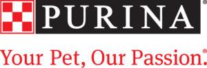 Purinan logo jossa punainen ruudukkokuvio ja lisäksi teksti: Purina. Your Pet, Our Passion.