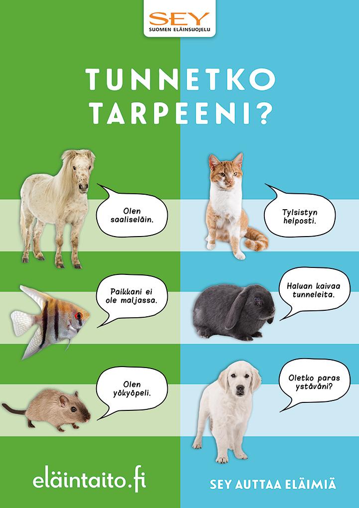 Eläinten viikon lapsille tarkoitettu juliste, jossa on eri eläimiä (poni, lehtikala, gerbiili, kissa, kani ja koira) värikkäällä taustalla. Lisäksi SEYn logo ja teksti: Tunnetko tarpeeni? Eläintaito.fi. SEY auttaa eläimiä.