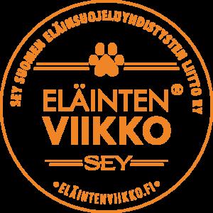 Eläinten viikon logo, jossa tassukuvio ja teksti SEY Suomen Eläinsuojeluyhdistysten liitto ry, Eläinten viikko®, SEY, Eläintenviikko.fi