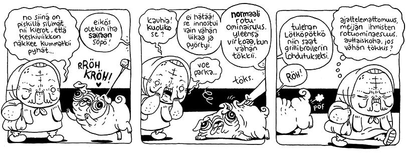 Anni Nykäsen Mummo-sarjakuva sairaiden koirien jalostuksesta.