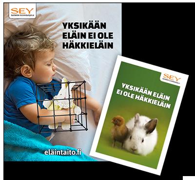 Kuva Eläinten viikon koululaismateriaalista. Julisteessa lapsi nukkuu keltapukuinen Ainu-ensipupu kainalossa. Ainun ympärillä on häkki. Lisäksi tekstit: Yksikään eläin ei ole häkkieläin, eläintaito.fi ja SEYn logo, jossa lukee SEY Suomen eläinsuojelu. Julisteen lisäksi kuva Eläinten viikon lasten oppaan kannesta, jossa on keltavihreätaustainen kuva kanista ja tipusta rinnakkain. Lisäksi teksti: Yksikään eläin ei ole häkkieläin ja SEYn logo. Eläinten viikkoa vietetään joka vuosi sadoissa kouluissa ympäri Suomen.