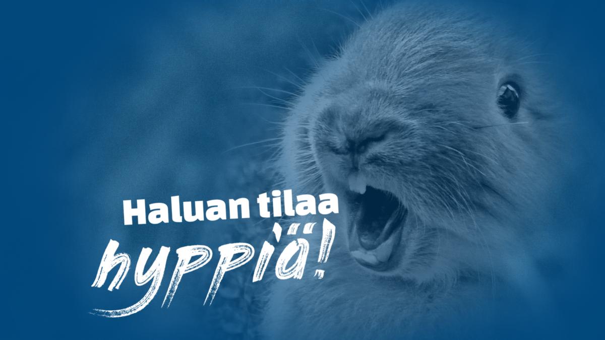 Sinisävyinen kuva kanista, joka huutaa: Haluan tilaa hyppiä! Yksikään eläin ei ole häkkieläin! Allekirjoita vetoomus.