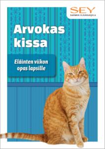 Arvokas kissa -julkaisun kansi, jossa oranssi kissa katsoo kameraan sinisellä taustalla